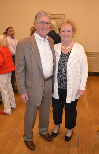 Honoree Pat Llodra, who served Newtown as First Selectman for four terms, posed with her husband Bob at the Newtown Republican Town Committee's special farewell ceremony at the Edmond Town Hall on February 4. (Bee Photo, Silber)