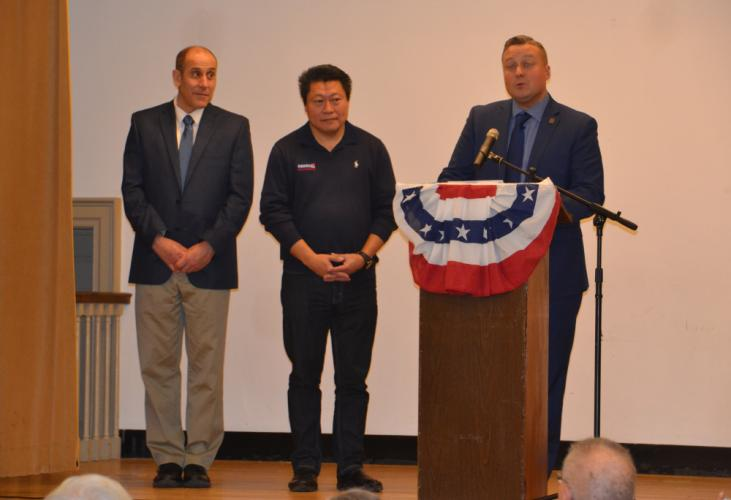 Pictured from left are Newtown Republican Town Committee chair and Selectman Jeff Capeci, Senator Tony Hwang, and State Representative JP Sredzinski who spoke at the RTC's farewell ceremony for Pat Llodra and Will Rodgers. (Bee Photo, Silber)