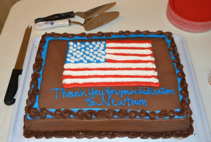 "The Newtown Republican Town Committee sponsored a catered farewell ceremony for former First Selectman Patricia Llodra and former Selectman William Rodgers, which included a congratulatory cake for dessert that read ""Thank you for your dedication to…"
