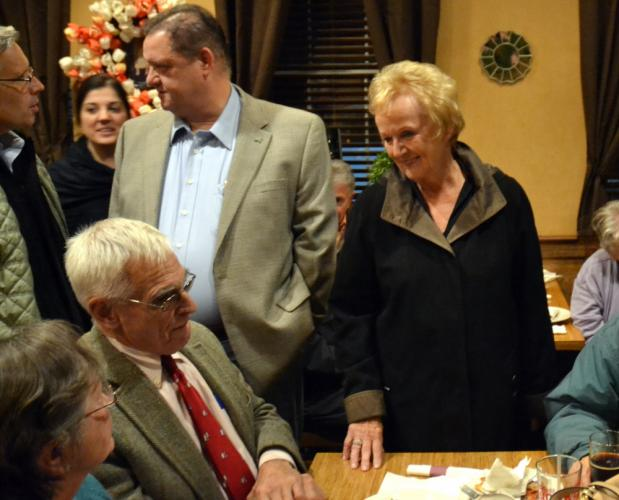 State Rep Mitch Bolinsky chats with finance board chairman John Godin while First Selectman Pat Llodra speaks with Margot and Robert Hall while waiting for local election returns with fellow Republicans at My Place Restaurant November 7.  (Bee Photo…