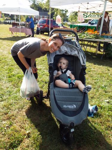 Newtown resident Julia Teitelbaum and her 11-month old son Justin visited the Newtown Farmer's Market at Fairfield Hills on Tuesday, October 3. (Bee Photo, Silber)