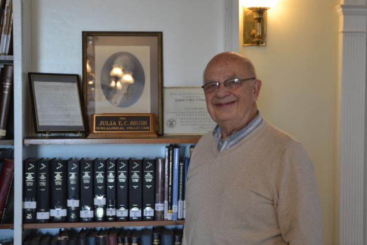 After serving as the C.H. Booth Library's longtime genealogy volunteer, Harlan Jessup retired from his duties earlier this month, as he plans to move from Newtown to Maine. (Bee Photo, Silber)