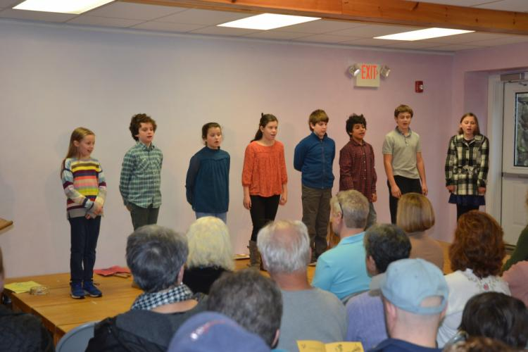 """At the Housatonic Valley Waldorf School's Thanksgiving Assembly, fifth grade students performed a variety of skits, including the tongue-twister """"Flat-Sharers"""" by Michael McCallion. (Bee Photo, Silber)"""