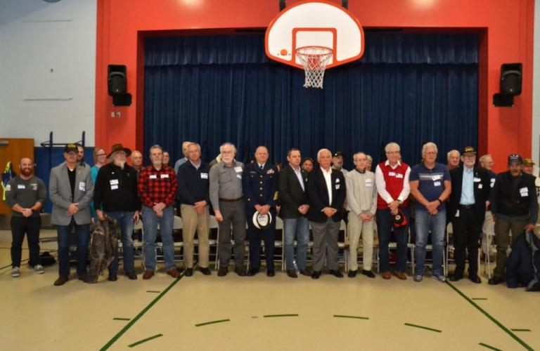 Hawley School conducted a Veterans Day breakfast and assembly on Friday, November 10, to honor those who have served in the United States Armed forces. (Bee Photo, Silber)