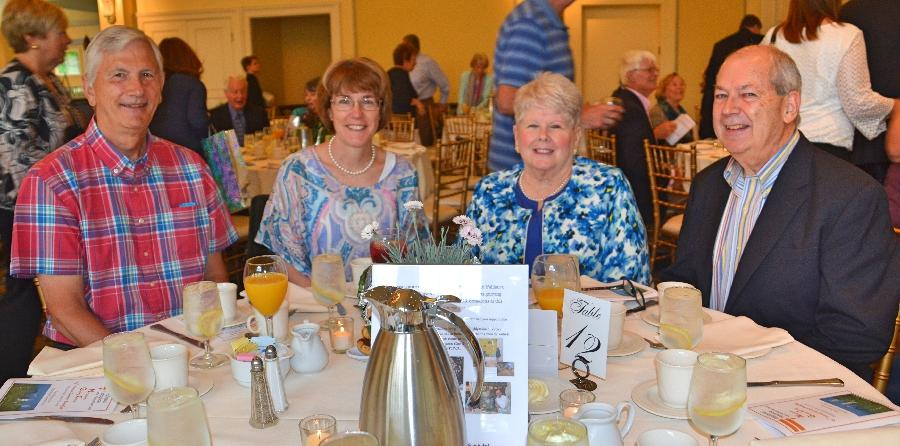 Pictured from left are Regional Hospice and Palliative Care volunteers from Newtown Larry O'Toole, Paget Haylon, Roseanne Loring, and Jim Loring at the Newtown Giving Circle's 29th Annual Summer Breakfast at The Waterview. (Bee Photo, Silber)