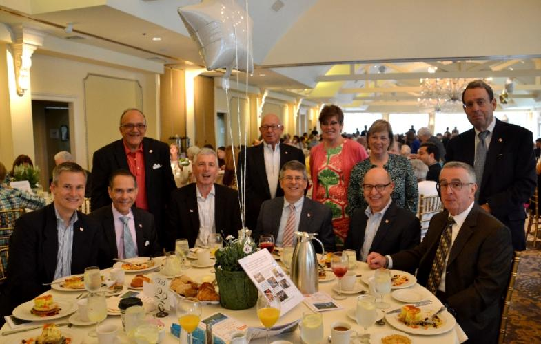 Members of the Newtown Savings Bank were acknowledged with white and gold balloons at their table for the company's generous support of Regional Hospice and Palliative Care. (Bee Photo, Silber)