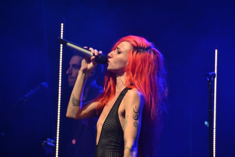 """Lights Poxleitner-Bokan's bombshell cat-suit accentuated her tattoo laden arms, newly inked with symbols from her """"Skin & Earth"""" comic series during the We Were Here Tour at Irving Place in New York City on February 26. (Bee Photo, Silber)"""