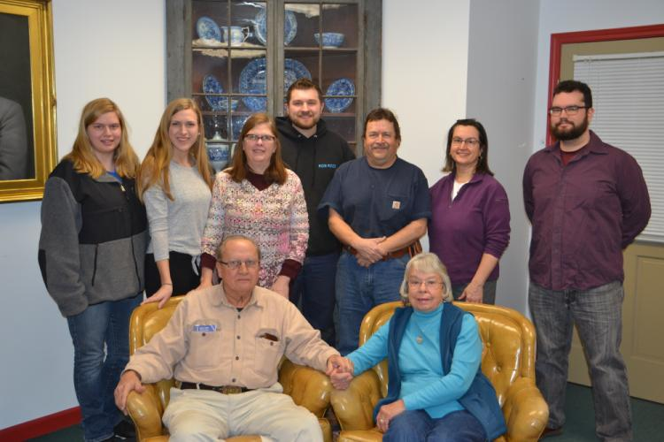 Seated are Bill, Sr, and Evelyn Watts surrounded by their children and grandchildren, from left, Melissa Watts, Megan Watts, Judy Watts, Kyle Watts, Bill Watts, Jr, Heidi Ansari, and Jacob Ansari. (Bee Photo, Silber)