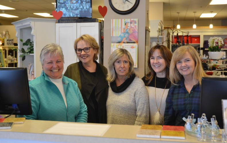 Pictured second from left is Lorraine K. McGowan, owner of Lorraine K. Boutique in Monroe, with some of her staff, Sue Goodridge, Emily Ashcroft, Susan Primavera, and Meridith Williams, on January 24. (Bee Photo, Silber)