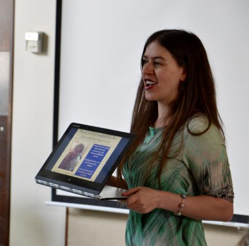 Newtown resident Lia Levitt spoke about the love and lessons she shared with her late grandmother, Anna Levitt, during a Lunch & Learn program at the Newtown Senior Center on April 18. (Bee Photo, Silber)