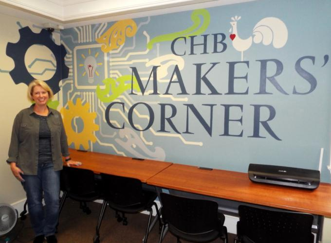 Sandy Hook resident Toni Miraldi painted the C.H. Booth Library's new chbMAKERS' Corner mural, finishing Friday, October 6. The mural is located on the second floor of the library, just beyond the Young Adult department. (Bee Photo, Silber)