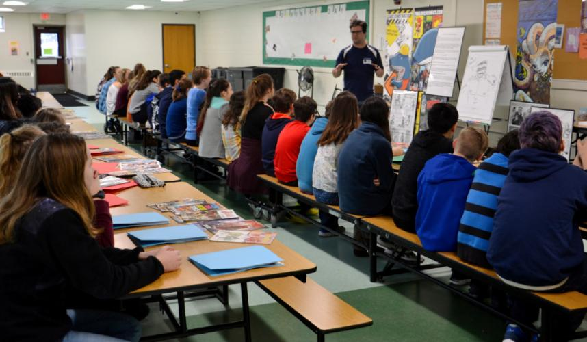 Matt Ryan of Free Lunch Comics provided an illustration workshop in the Newtown Middle School's cafeteria for 44 students that participated in the Day of Art in-school field trip on Friday. (Bee Photo, Silber)