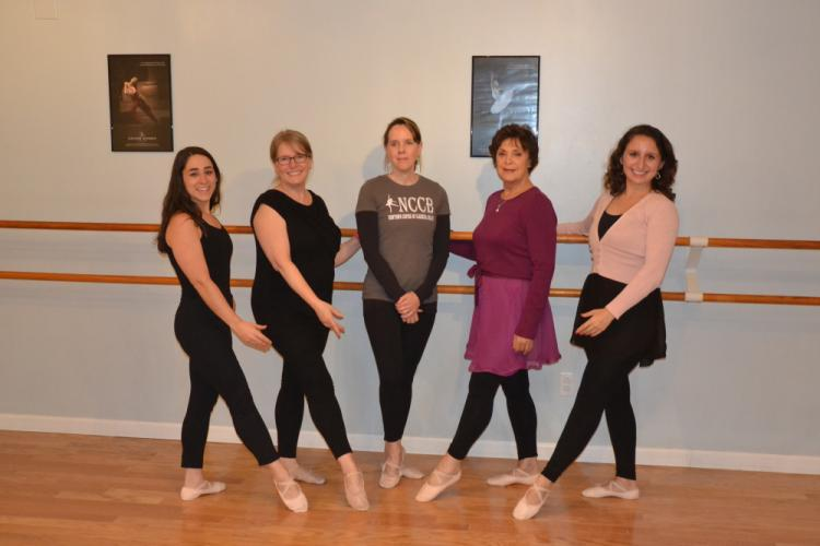 Pictured from left are Newtown Centre of Classical Ballet students Natalie Mendes, Lynn Fowler, Cindy Carlson, Joan Noel, and Kristen Pirog, who meet at the studio for class with instructor Tory Gozzi on Thursday nights. (Bee Photo, Silber)