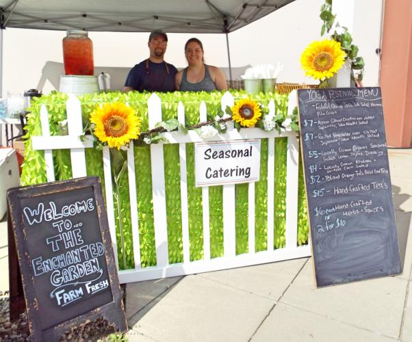 Seasonal Catering was one of the vendors serving up food for guests at the Newtown Yoga Festival on Saturday, August 26. One of the most popular items on the menu was the falafel and quinoa tabbouleh salad with hummus and pita crisps. Pictured are…