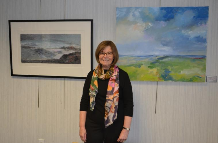 "During the opening reception on February 4 for this month's exhibition at C.H. Booth Library, Newtown resident Roberta Shea showcased her artwork inspired by her trip to Ireland. Her monotype ""Kerry"" is shown on the left, and her oil on canvas …"