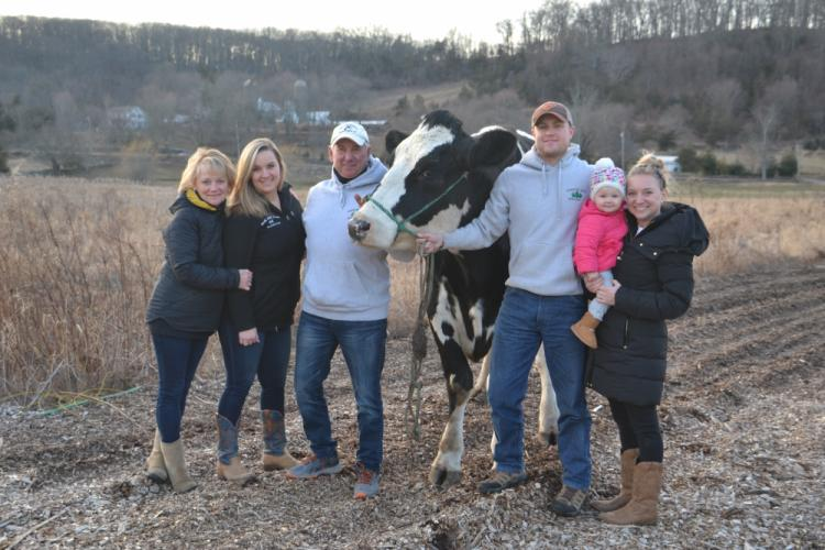 Pictured from left are members of the Paproski and Kearns Family: Diana, Shannon, and Steve Paproski with Dan Kearns, 15-month-old Charlotte Kearns, and Stephanie (Paproski) Kearns at Castle Hill Farm. (Bee Photo, Silber)