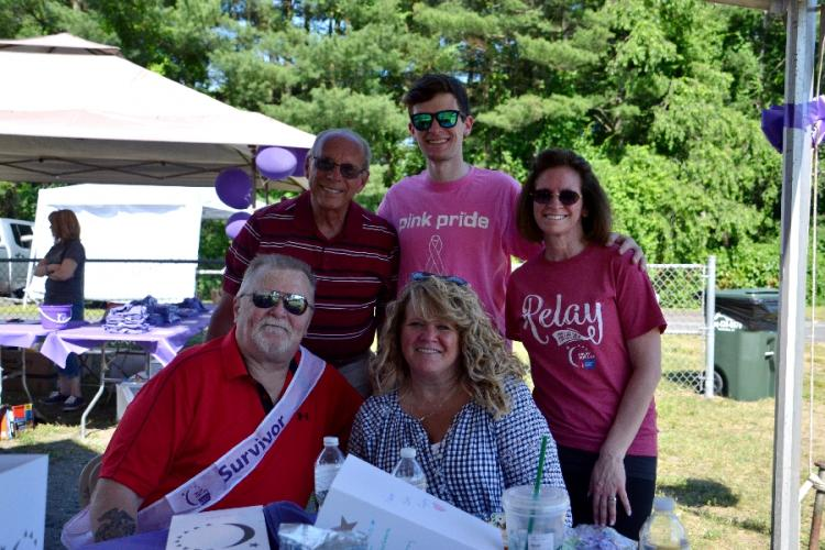 Seated are Frank Morehouse and Maryann Morehouse with, from left, Mike Giarratano, Nick Swenson, and Newtown's Relay for Life Co-Chair Gayle DiBenedetto at the Survivor and Caregiver Reception on June 16. (Bee Photo, Silber)