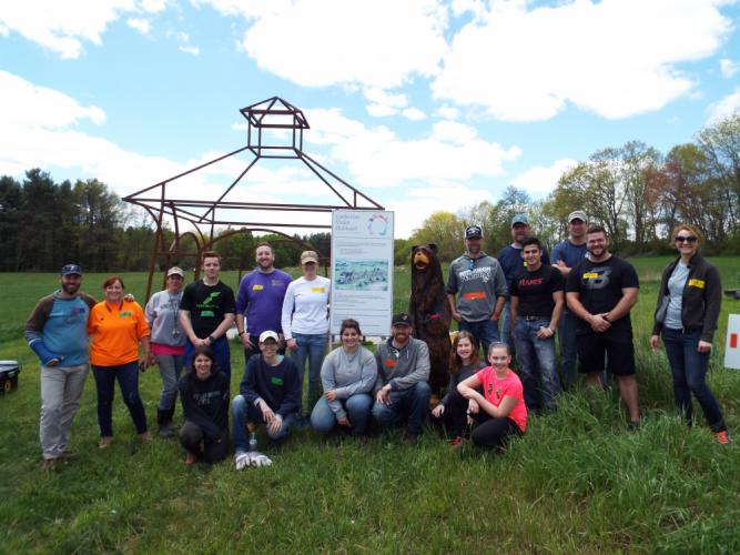 Volunteers from the shelter renovation group Rescue Rebuild worked to put up paddock fencing and clear invasive plants at the Catherine Violet Hubbard Animal Sanctuary from May 10 to 18. Pictured are a fraction of the 80 volunteers who signed up to…