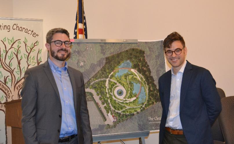 Pictured from left are Daniel Affleck and Ben Waldo of SWA Group with their proposed Sandy Hook permanent memorial design, which has been labeled SH37 by the SHPMC. (Bee Photo, Silber)