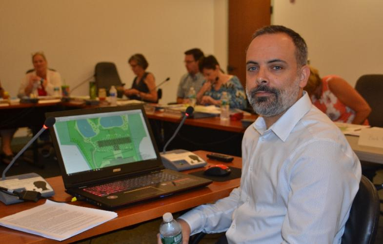 Justin Arleo of Arleo Design Studio LLC, based out of Tempe, Ariz., waits to present his design, labeled SH108 by the commission, at the SHPMC meeting on Tuesday, July 17. (Bee Photo, Silber)