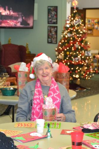Rose Cipolla was one of the lucky winners at the Newtown Senior Center's Holiday Bingo on December 20. (Bee Photo, Silber)