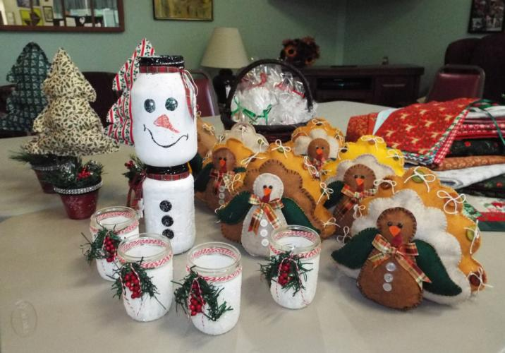 The Newtown Senior Center will host its annual Holiday Bazaar on Saturday, November 18, from 9 am to 3 pm. Popular items like the handmade Thanksgiving turkeys decorations, holiday jars, and table runners will be available this year. (Bee Photo, Silber)