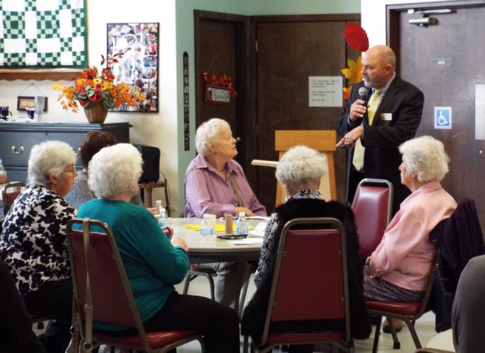 At the Newtown Senior Center's legal seminar on October 11, Judge Daniel W. O'Grady, pictured right, answered audience questions. (Bee Photo, Silber)