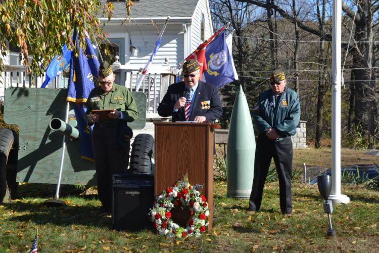 VFW Post 308 conducted its annual Veterans Day Ceremony on Saturday, November 11, at 11 am, on Freedom Defenders Way. Pictured from left are VFW Chaplain Clayton Friedberg, VFW member Michael Mich, and VFW Commander Ray Wisniewski. (Bee Photo, Silber)