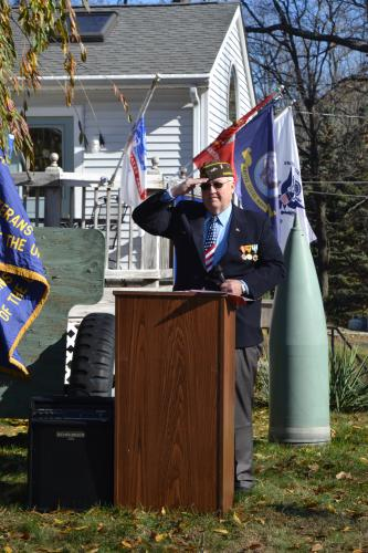 VFW Post 308 member Michael Mich saluted during the VFW Veterans Day Ceremony on November 11. (Bee Photo, Silber)