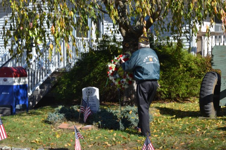 VFW Post 308 Commander Ray Wisniewski placed the commemorative wreath at the Veterans Day Ceremony. (Bee Photo, Silber)