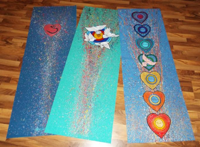 The Yoga Mat Art Show will feature a variety of functional yoga mats painted by Newtown Yoga Center owner Aline Marie and local artist Dave Brooker on Saturday, December 9. (Bee Photo, Silber )
