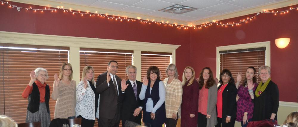 Pictured from left are Alice Holmes, Diane Licata, Sandy Anderson, Robert Morey, Vincent Capuano, Jackie Himmelfarb, Barbara Frey, Anne Stark, Cyndy DaSilva, Michele Brown, Whitney Taylor, and Connie Widmann of the Newtown Board of Realtors 2018…