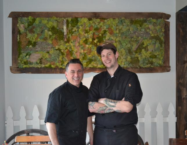 Lucas Local Oyster Bar and Woodfire Cookery opened on October 13 at 48 South Main Street, fully redesigning the space that formerly housed Peachwave in Newtown. Pictured from left is Lucas Local owner Vincent Cappelletti and Chef Brett Mitchell…
