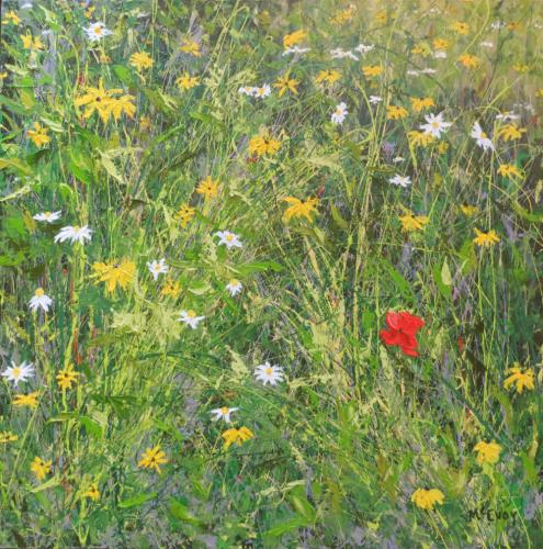 """A single red area within a field of abstract lines and a few dozen daisies and Black-Eyed Susans defines the focal point of """"One Red Poppy."""""""