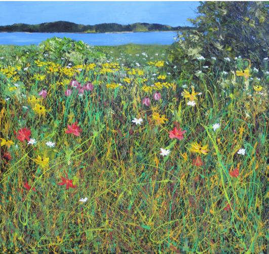 """""""Water View #2 Thru the Wildflowers"""" is a recent work in oil and enamel by Dick McEvoy, who will host an open studio May 16-17."""