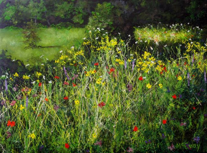 """""""Wildflower Mania"""" is another recent Abstract Impressionist work by Dick McEvoy."""
