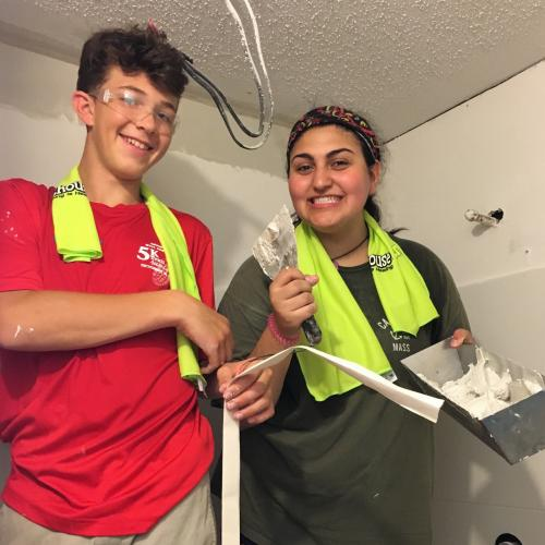 Aidan Ford and Brianna Castellano helped tile a bathroom in Denham Springs, La., during the Ben's Lighthouse service trip last month.  (Rebecca Cosgrove photo)