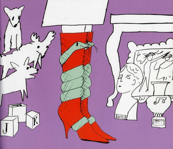 The book's main character is a snake who transforms into a variety of fashion items. Here, the snake became Jacqueline Kennedy's boots. (Image from The Autobiography Of A Snake)