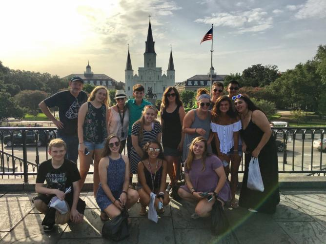 The Ben's Lighthouse group made time for some fun during its service trip last month, immersing themselves in the culture of the French Quarter one afternoon.  (Rebecca Cosgrove photo)