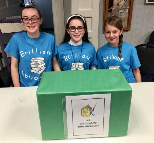 The 2018 Battle of the Books winners, from left, were Ellie Arcaro, Samantha Hatcher, and Grace Chiriatti from the Brilliant Bibliophiles team. (photo courtesy Lucy Handley)