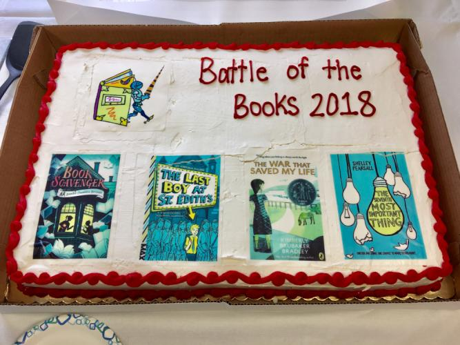 Guests enjoyed a customized cake at The C.H. Booth Library's 14th annual Battle of the Books on Saturday, April 7. (photo courtesy Lucy Handley)