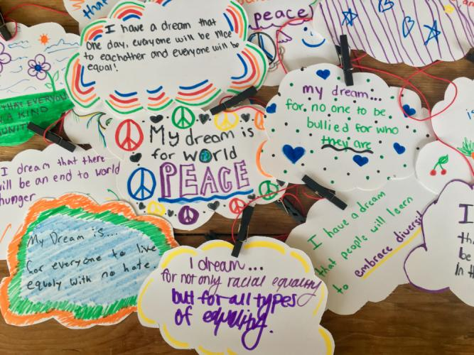 "Inspired by Dr Martin Luther King Jr's ""I Have A Dream"" speech, school children and young adult volunteers spent time on Monday, January 16, creating records of their dreams and goals."