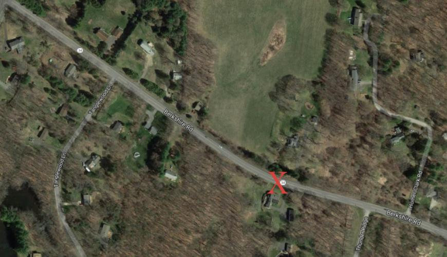 The X on this map indicates the location of the accident early Friday, November 3. Berkshire Road is running east-west;  Tanglewood Lane is to the west of the X, and Thunder Ridge is to the east.  (Google Maps)