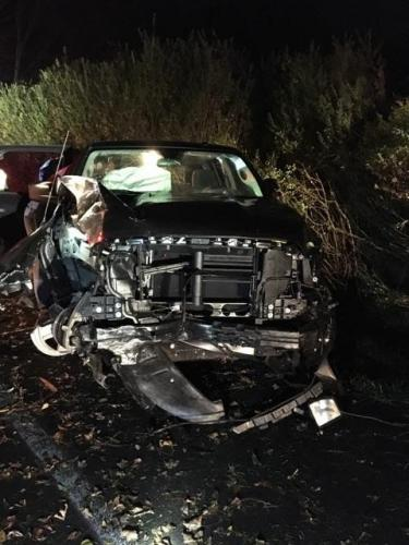 This 2017 Dodge pickup truck received heavy front-end damage when it struck a utility pole and a stone wall in an early morning accident on Berkshire Road on November 3.   (Sandy Hook Volunteer Fire & Rescue Company photo)