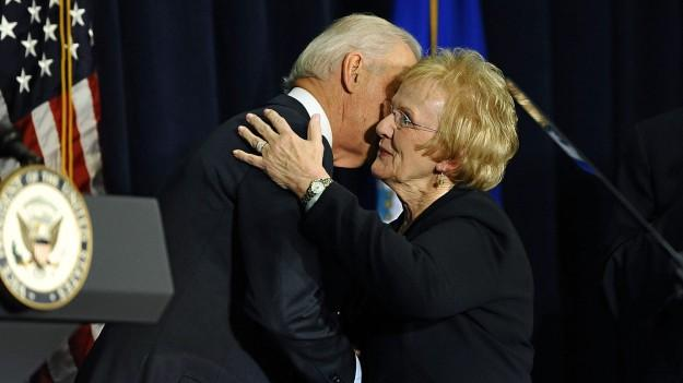 This Associated Press image captures Newtown First Selectman Pat Llodra being embraced by then-Vice President Joe Biden during a visit to the White House shortly after 12/14.  (Associated Press photo)
