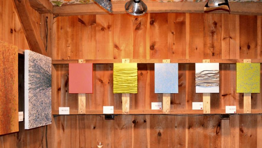 "Abstract splatter paintings and colorful plaster cloth pieces were hung on the walls of Yolie Moreno's barn for ""Beautiful Consequences.""   (Amanda Meador photo)"