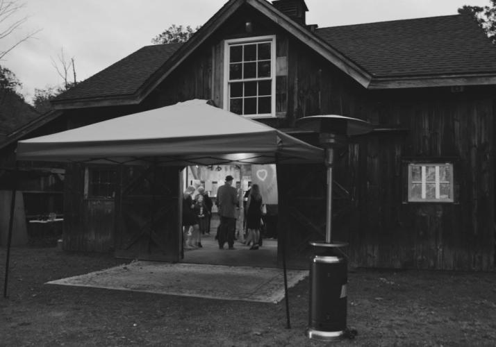 "The barn at the western Newtown property of Yolie Moreno was nearly teeming with people when ""Beautiful Consequences"" officially opened at 7 pm Saturday, September 30.  (Amanda Meador photo)"