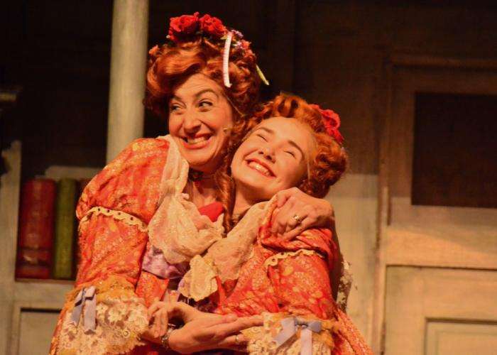 Deana Marchant, left, and Ashley Raymond drew frequent laughter as an overly excitable Mrs Fezziwig and daughter Charlotte Fezziwig in the NewArts 2017 production of A Christmas Carol.