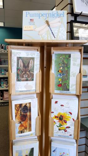 Among the interesting and heart warming greeting cards at The Gift Box gift shop are these designs from Pumpernickel.