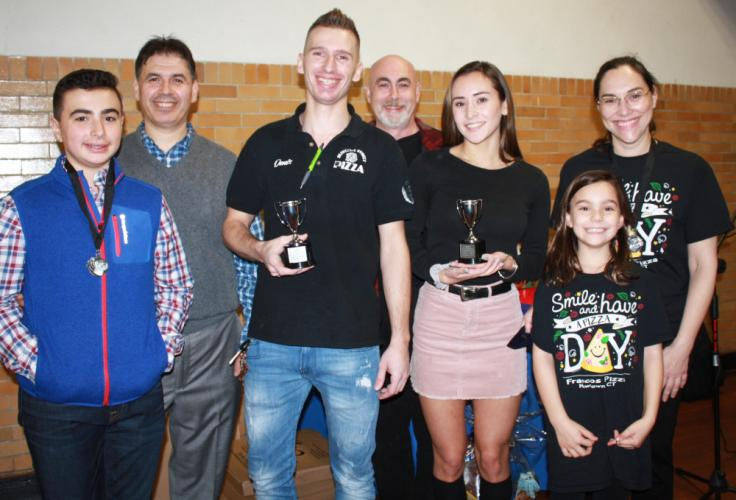 """The 14th Annual Destination Newtown's pizza contest winners are pictured from left: Brendan and his father Aristotel """"Ari"""" Zoto of Newtown Pizza Palace, who were runner up for Most Creative Pizza; Dennis Demiri of Lion's Bleecker Street, who won…"""